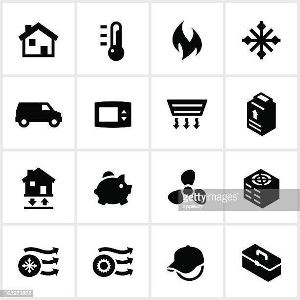 Black Heating and Cooling Icons