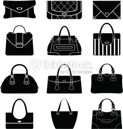 Black Icons Female Bags Vector Art   Thinkstock 4807d3de68