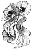 Black Ink Tattoo Fishes in Floral Composition. Anemonies bouquet and floating fishes. Contrast monochrome image.