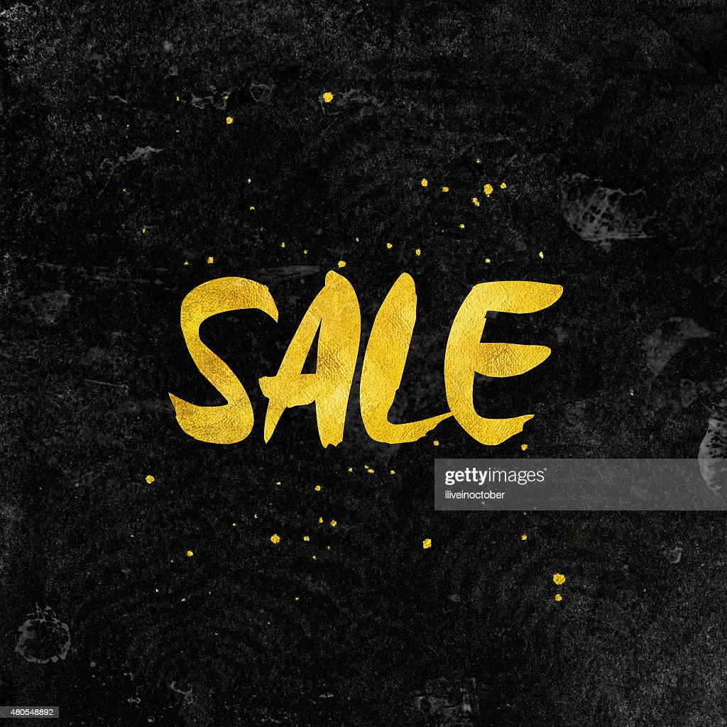 Black SALE typography background with gold foil letters. : Stock Illustration