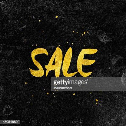 Negro venta de fondo de tipografía con lámina de oro de las letras. : Ilustración de stock