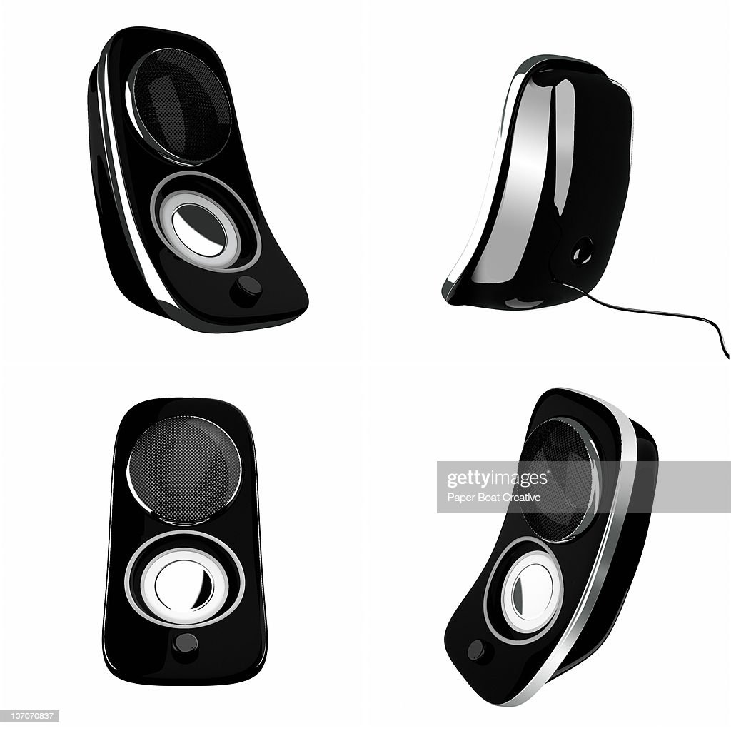 3D black speakers on white background, cut out : Stock Illustration