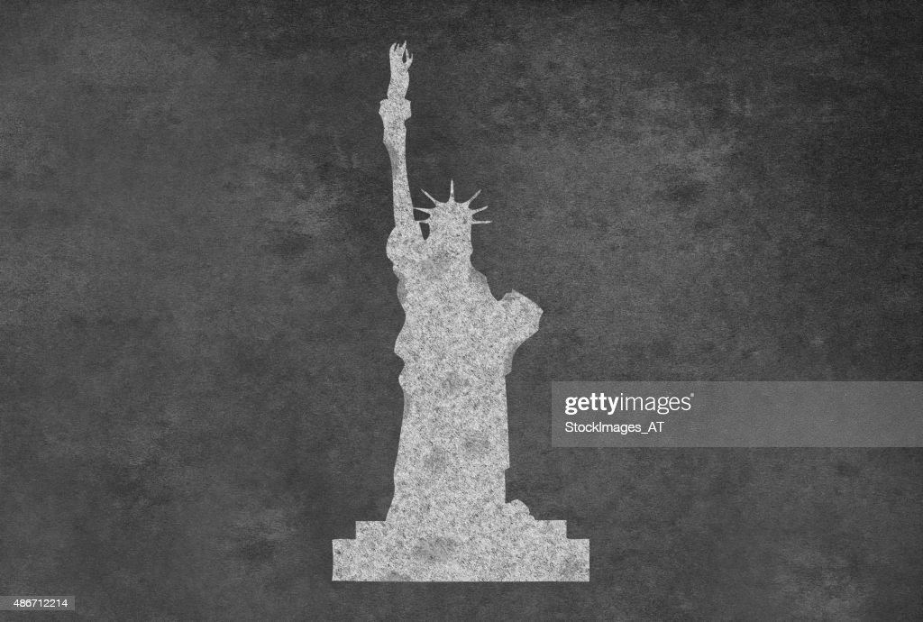 Blackboard With Statue Of Liberty Stock Illustration Getty Images