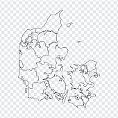 Blank map Denmark . High quality map Kingdom of Denmark with provinces on transparent background for your web site design, logo, app, UI. Stock vector. Vector illustration EPS10.
