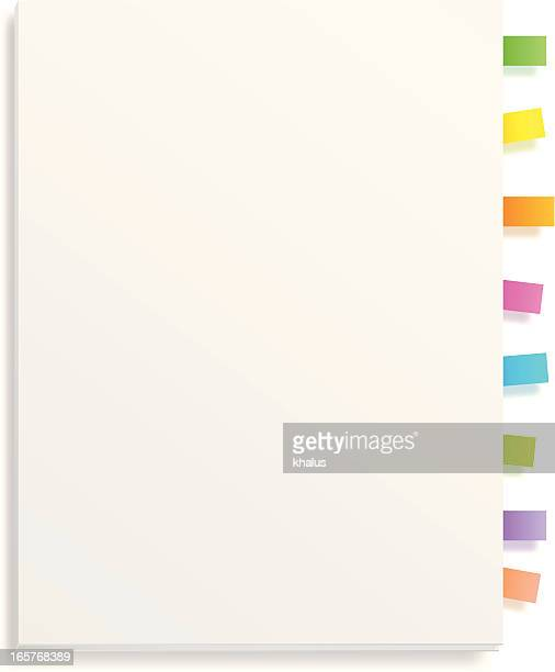 Blank white book with color bookmarks
