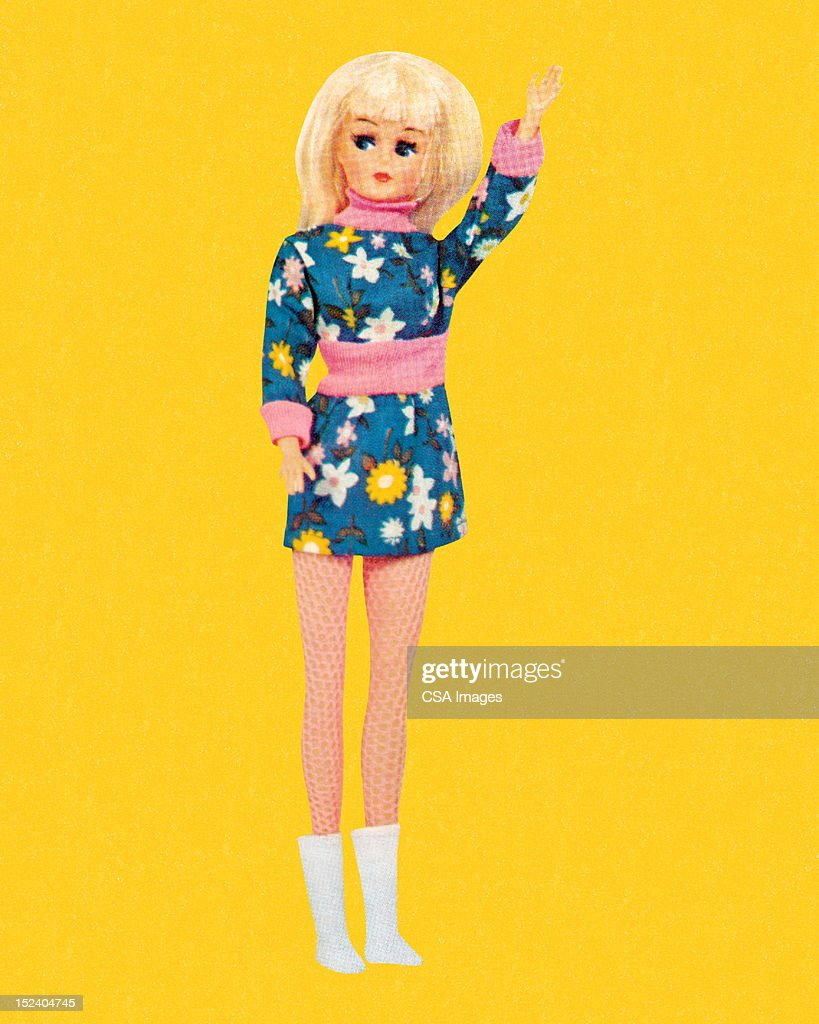 Blonde Fashion Doll Wearing Floral Miniskirt : Stock Illustration