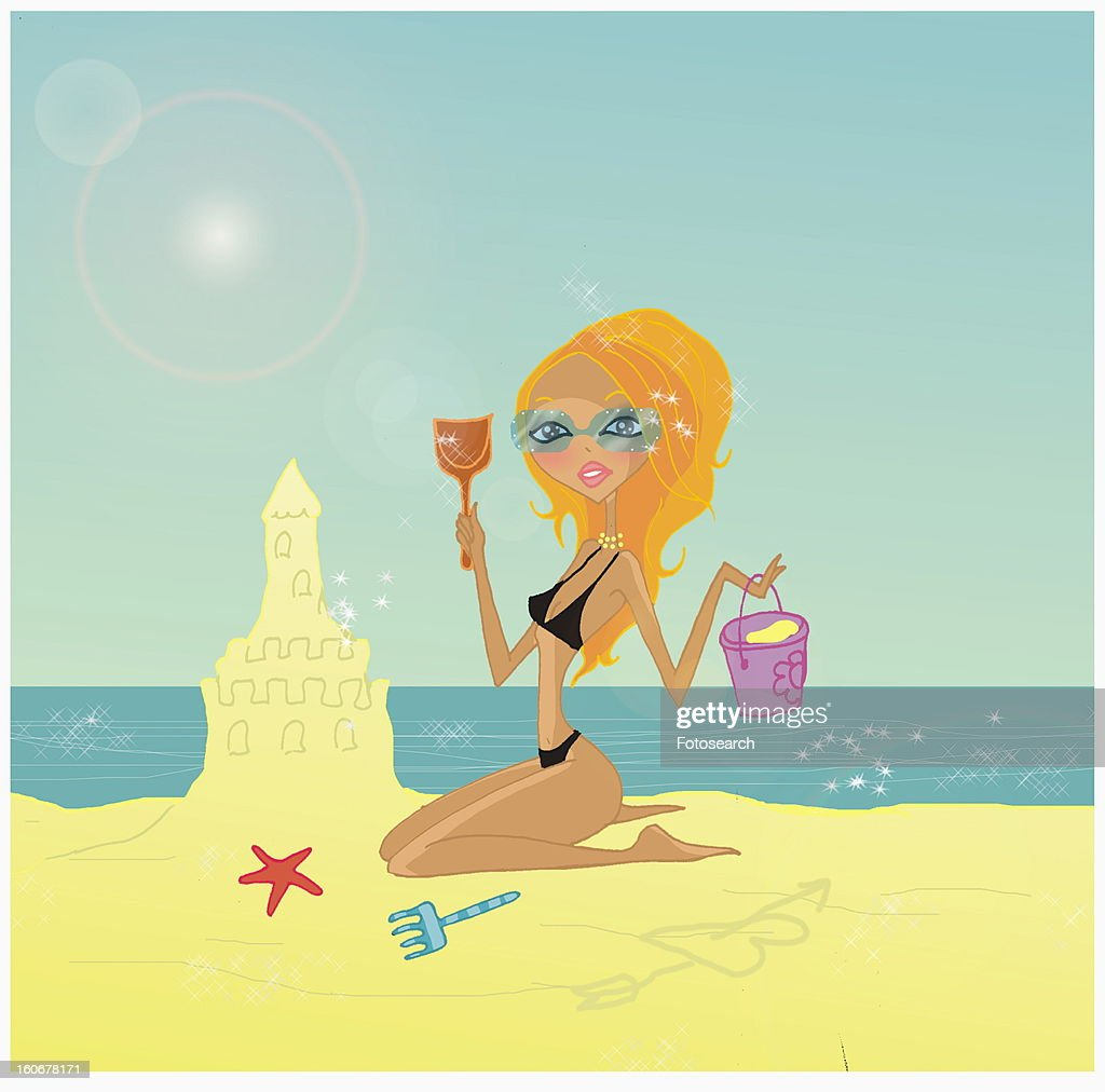 Blonde on the beach building a sandcastle : Stock Illustration