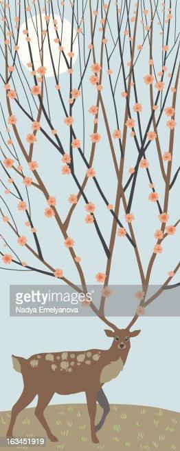 Blooming Deer Antlers : Stock Illustration