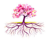 """This traditional watercolor of a blooming tree with it's root system emphasized, was created by me, Sandy Sandy, in 2009. This image lends itself to many symbolic concepts.  Notice the variety of sof"