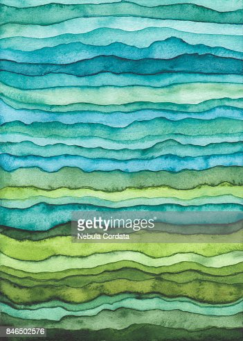 Blue and Green Waves. Hand Drawn Watercolor Background : stock illustration