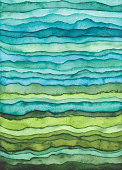 Bright Blue and Green Waves. Hand Drawn Stripped Watercolor Background