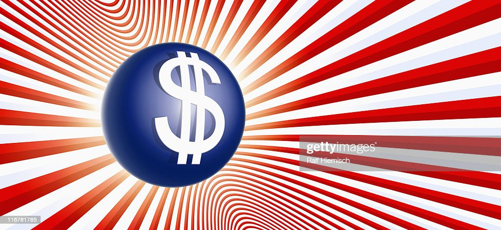 A blue ball with a dollar sign on it and red and white stripes : Stock Illustration