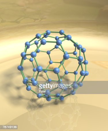 Blue Fullerene or Buckyball : Stockillustraties