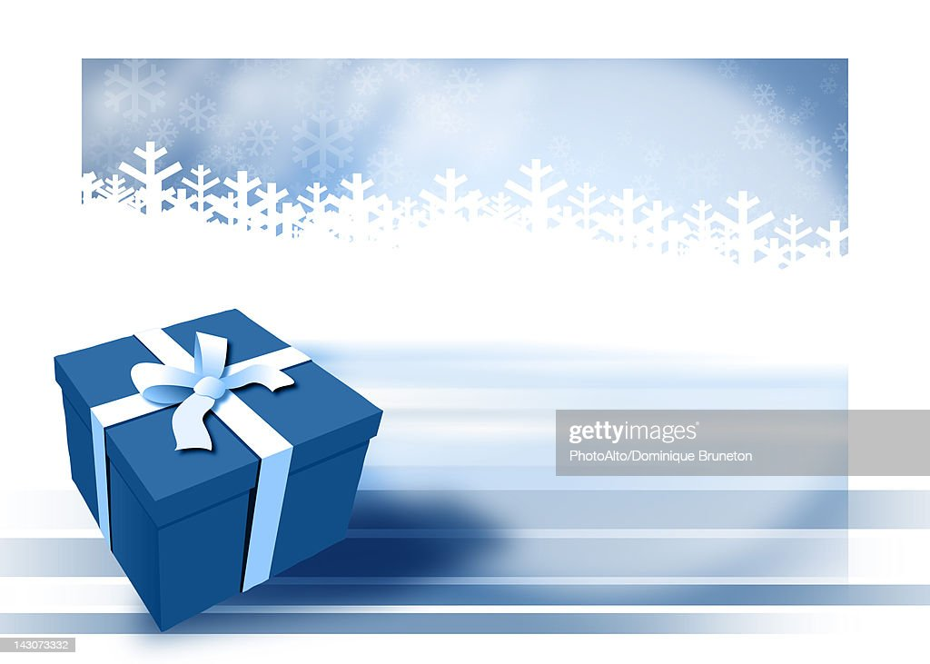 Blue gift with winter background : Stock Illustration
