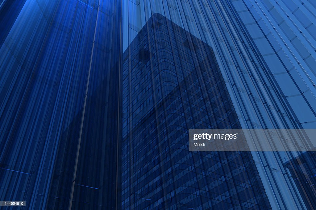 Blue Glass Building : Stock Illustration