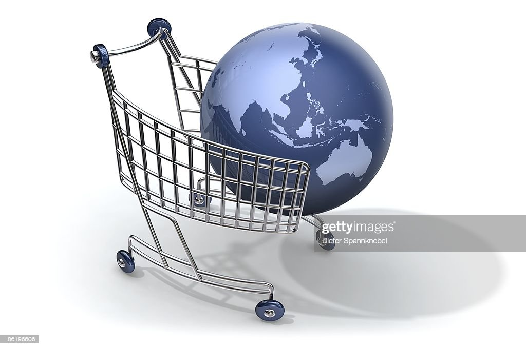 Blue globe captured by a shopping cart : Stock Illustration