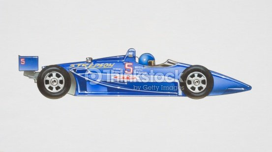 Blue Motorracing Car With Driver Sitting In He Front Side View