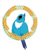Blue Parrot on Wreath, Painting, Illustration