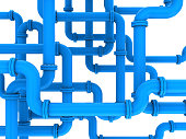 3d illustration of blue pipes system
