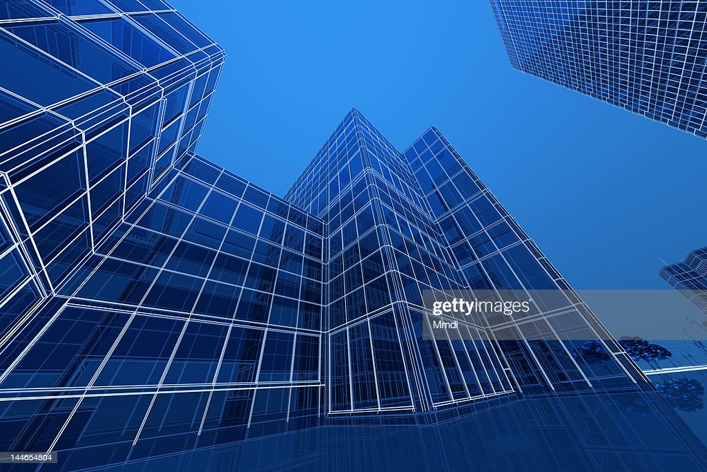 Blue Wireframe Building : Stock Illustration