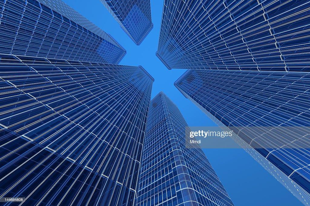 Blue Wireframe Building : Stock Illustration