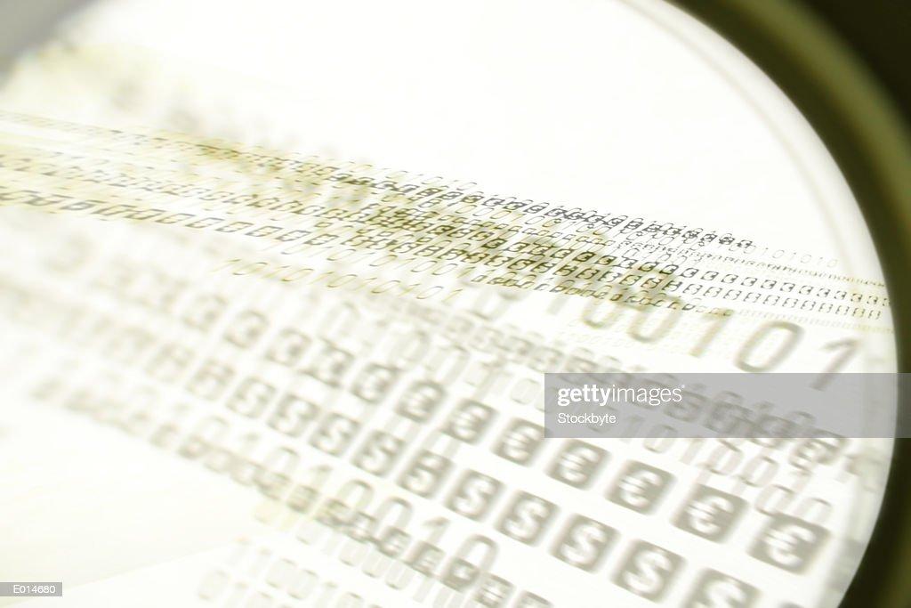 Blurred binary and money symbols in green : Ilustração de stock