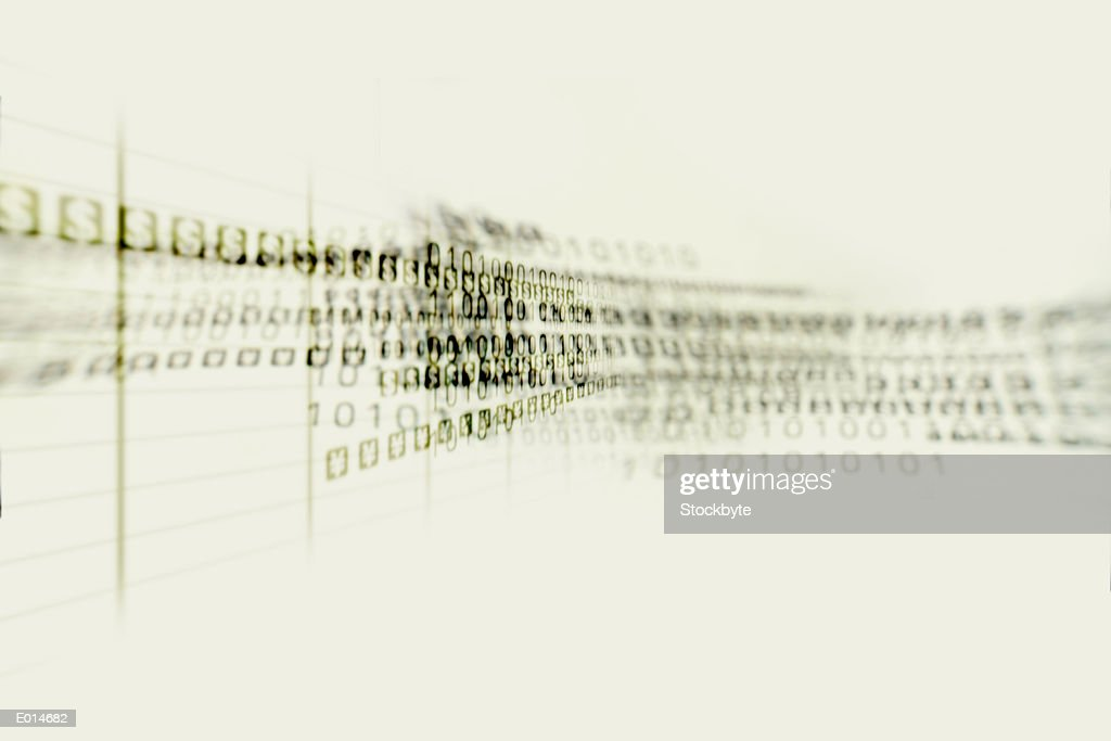 Blurred binary and money symbols in green : Stock Illustration