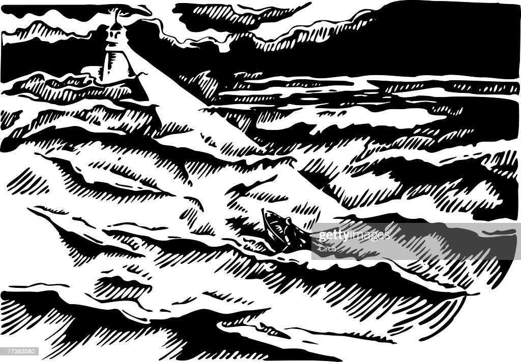 Boat rowing towards a lighthouse black and white : Stock Illustration