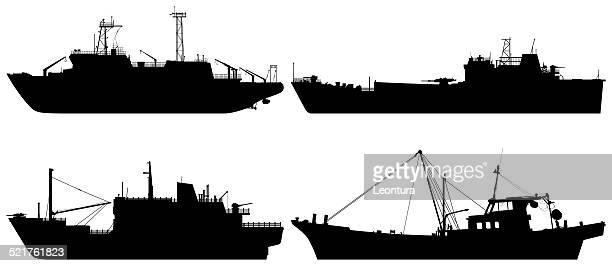 Shrimp boat silhouette