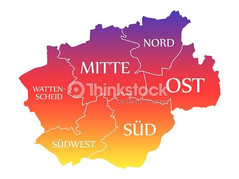 Bochum City Map Germany De Labelled Rainbow Colored Illustration