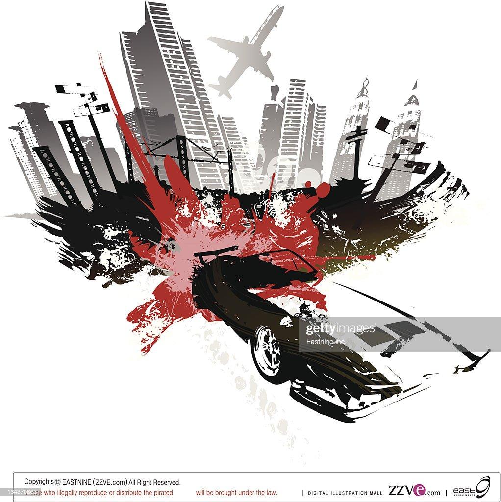 Bomb blast over the city : Vector Art