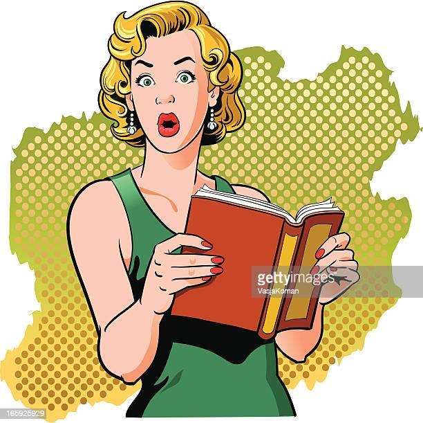 Buch lesen Vintage Frau mit überrascht Look