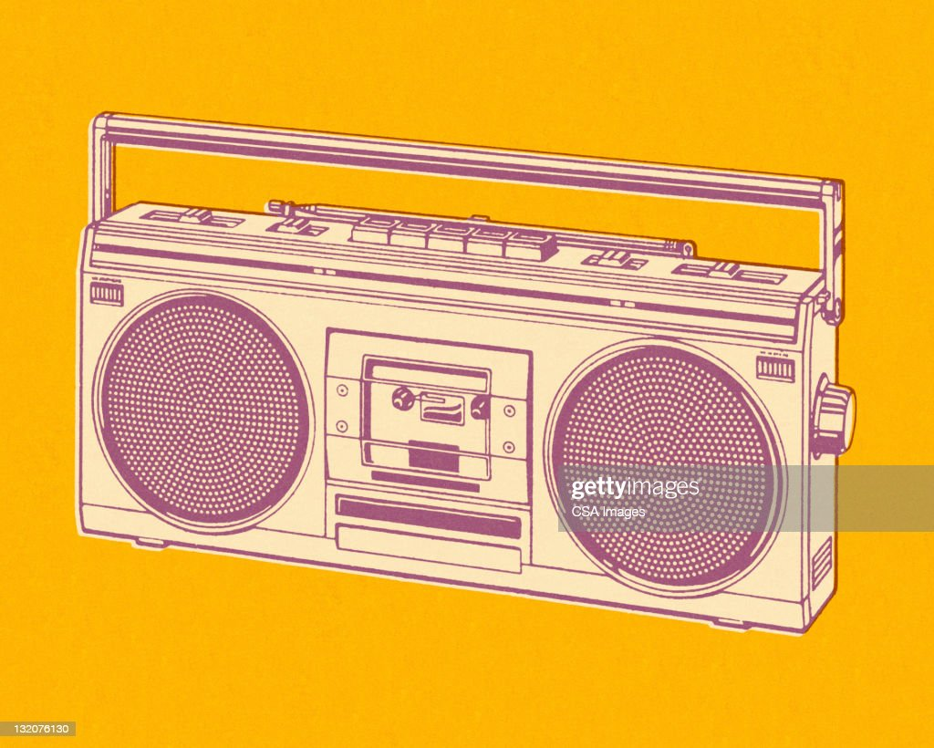 Boombox on Yellow Background : Stock Illustration