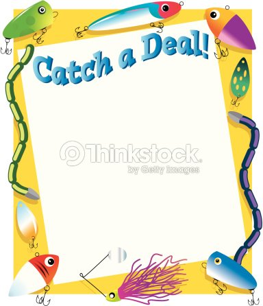 Border Heading Catch A Deal Fishing Lure Frame Vector Art   Thinkstock