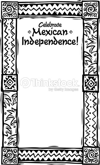 border heading celebrate mexican independence hispanic motif frame - Mexican Frame