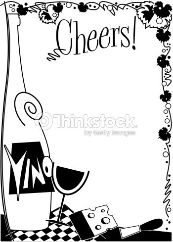 Border Heading Cheers Wine And Cheese clipart vectoriel ...