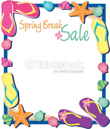 Border Heading Spring Break Sale Various Beach Items Vector Art