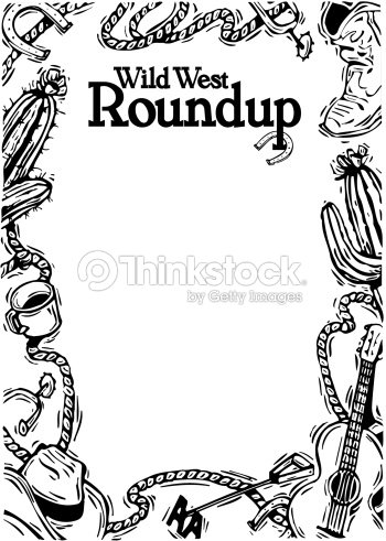 Border Heading Wild West Roundup Frame Of Various Cowboy And Western ...