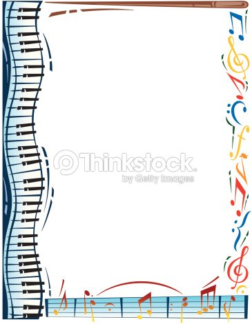 Border, music notes, piano keys Color Also available in black-and-white