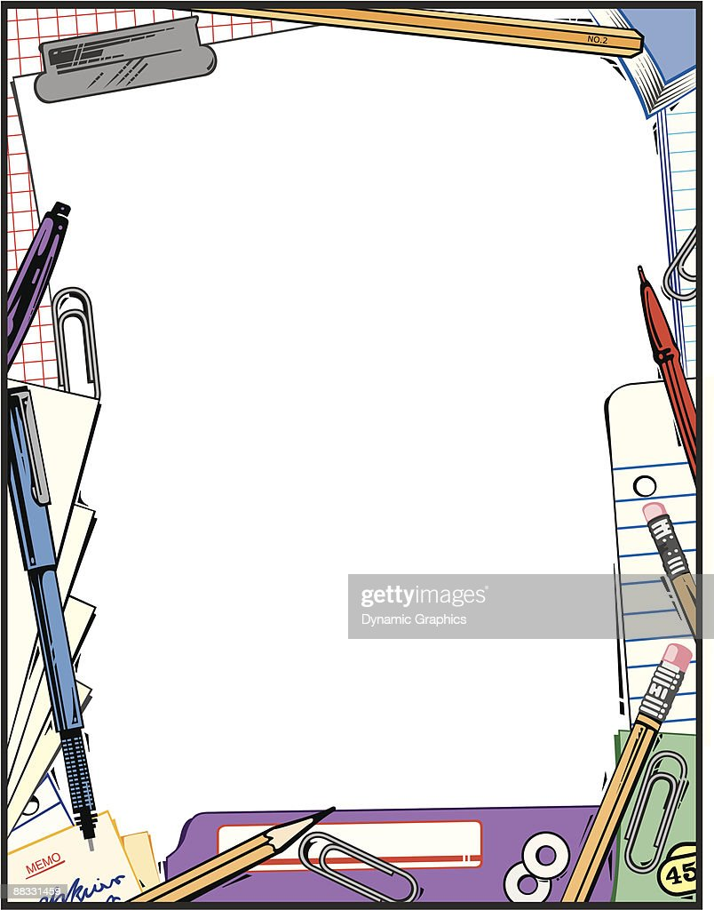 Office Supplies Clipart Website Architecture Tool Border Color Illustrator Ver 5 Grouped Elements Illustration