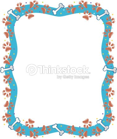 641e14541a47 Border Paw Prints And Bones Color stock vector