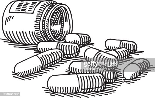 Bottle Medicine Pills Drawing : Vector Art