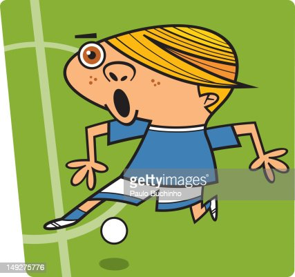 A boy about to kick a ball : Stock Illustration