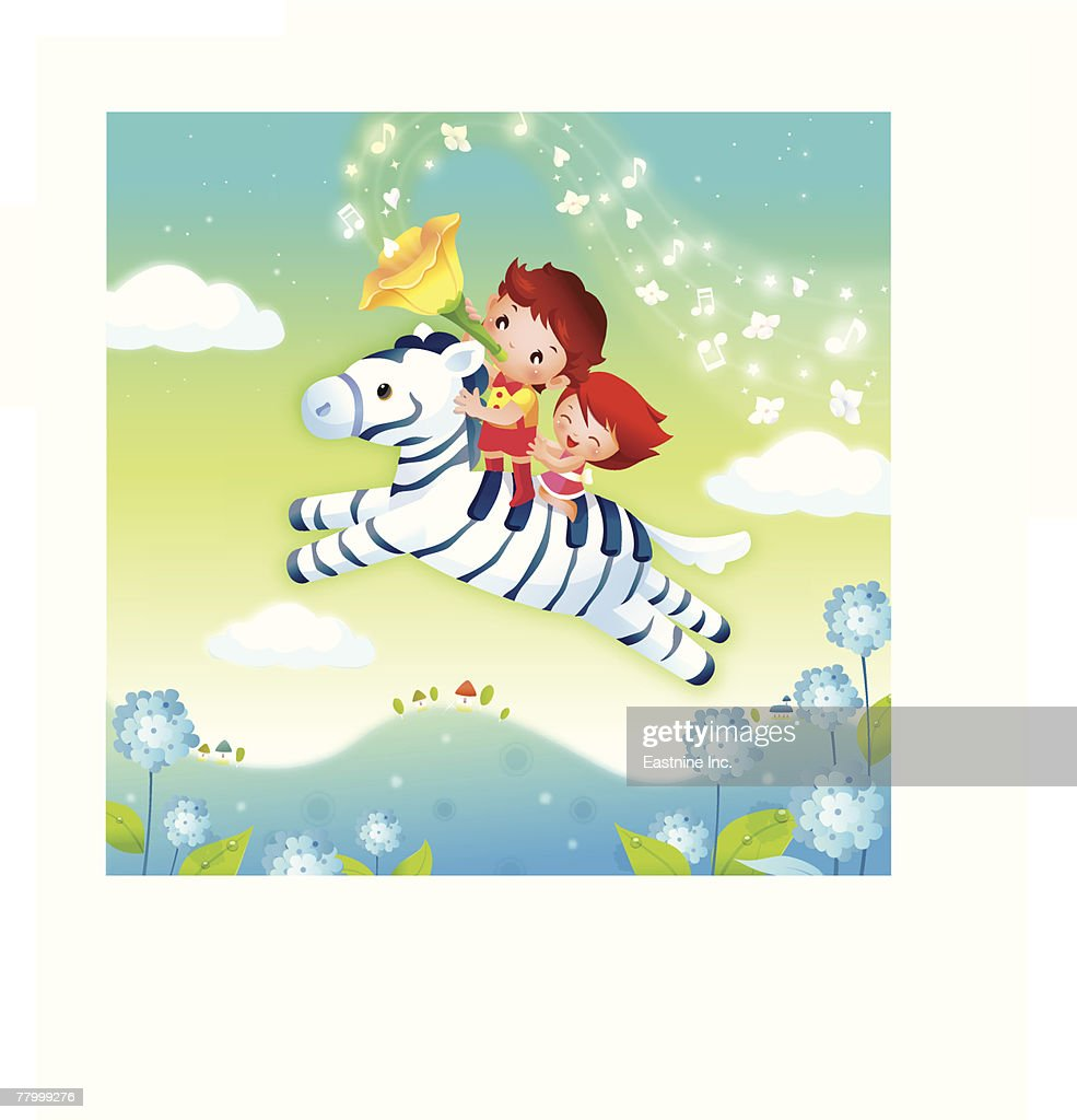 Boy and a girl riding a zebra in the sky : Vector Art