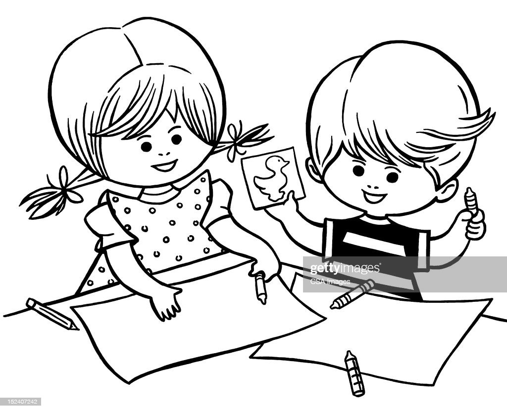 Boy and Girl Coloring : Stock Illustration