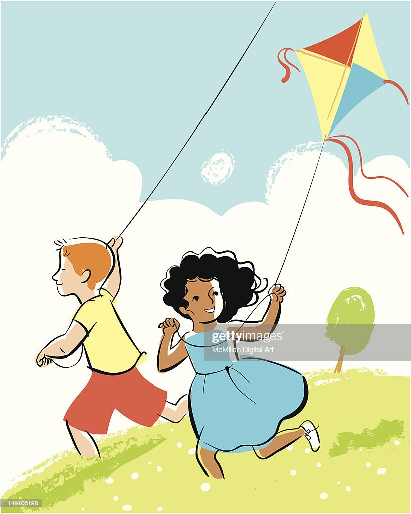 Boy and girl flying kites : Vector Art