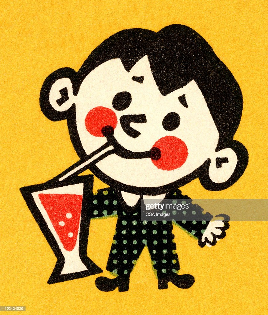Boy Drinking Soda : Stock Illustration