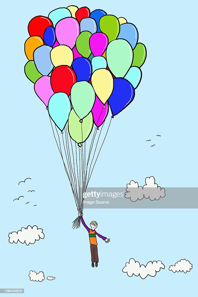 Boy floating with balloons, illustration : Stock Illustration