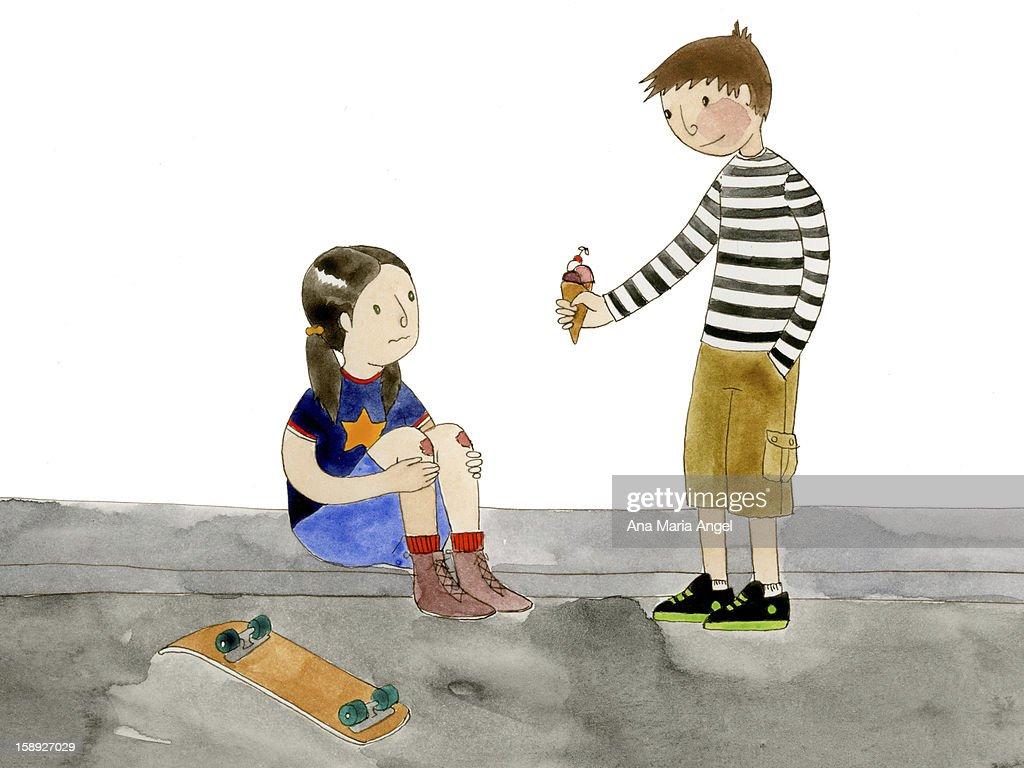 A boy giving a girl ice cream : Stock Illustration