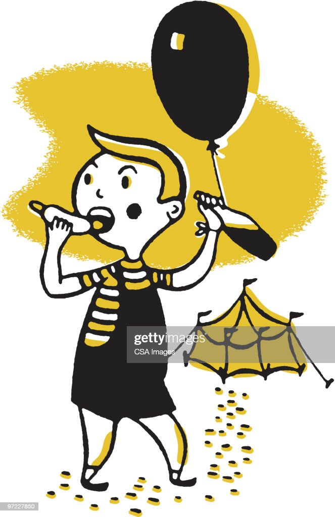 Boy Leaving Circus Tent : Stock Illustration